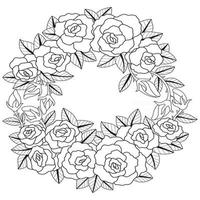 Rose wreath Hand drawn sketch for adult colouring book vector