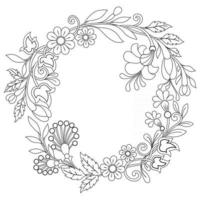 Flower design wreath Hand drawn sketch for adult colouring book vector