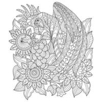 Parrot in the sun flower garden Hand drawn sketch for adult colouring book vector