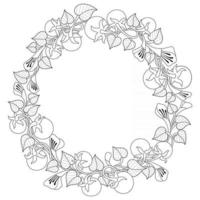 Tomato design wreath Hand drawn sketch for adult colouring book vector
