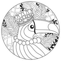 Hornbill with crown Hand drawn sketch for adult colouring book vector