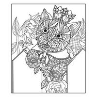Cat in the garden Hand drawn sketch for adult colouring book vector