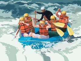 Rafting Adventure in illustration graphic vector