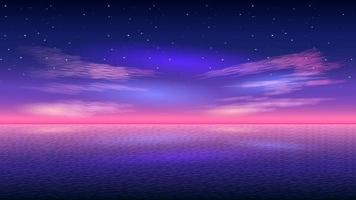 Seascape horizon at evening starry sky realistic background vector