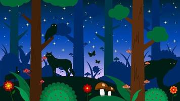 Forest at night animals silhouette cartoon background vector