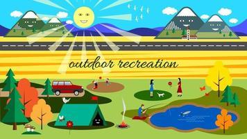autumn outdoor recreation flat background vector