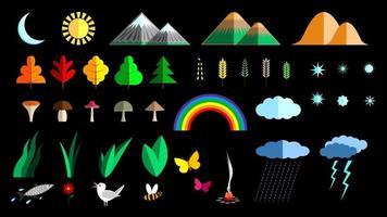 Set nature flat decoration elements cartoon vector