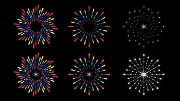 Set colorful firework splash round isolated vector