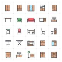 Furniture and Decor Line with Color Icon vector