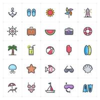 Beach and Summer Line with Color Icon vector