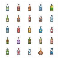 línea de botella con icono de color vector