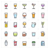 Línea de bebidas y vidrio con icono de color vector