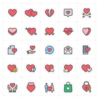 Heart and Love Line with Color icon vector