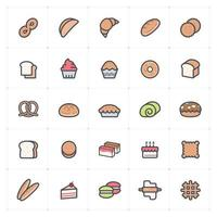 Bakery and Sweet Line with Color icon vector