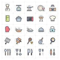 Kitchen and Utensil Line with Color icon vector