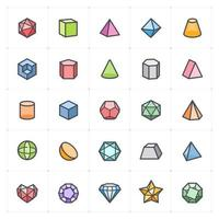 Abstract Polygon Line with Color icon vector