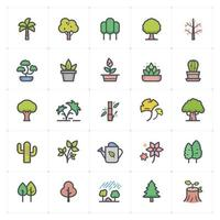 Tree and Natural Line with Color icon vector
