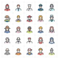 People Jobs Avatar Line with Color icon vector