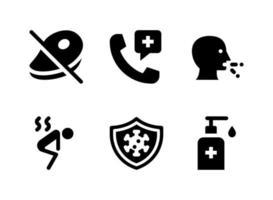 conjunto simple de iconos sólidos vectoriales relacionados con coronavirus vector