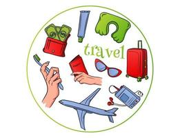 Travel essentials flying on an airplane in a cartoon style vector