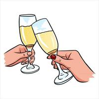 A pair of glasses of champagne in hand vector