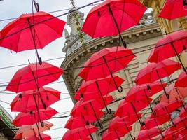 Many red umbrellas decoration in Serbia photo