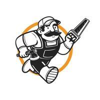 Running lumberjack mascot hold the axe and saw mascot logo character vector