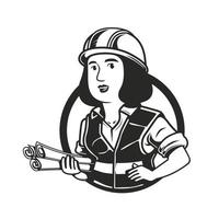 woman engineer with roll paper logo character vector