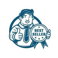 Business man making thumb up holding Best Seller Gold Medal sign vector logo illustration