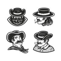a set of a man smoking in black and white drawing vector illustration