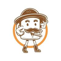 vector illustration of smiling cup smoking and wearing a hat do walking mascot logo