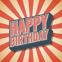 Happy Birthday Vintage Retro Speech Bubble Background Vector illustration