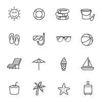 Summer Icons Line Design Vector illustration