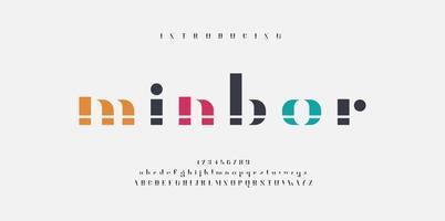 fuentes del alfabeto moderno minimalista abstracto vector