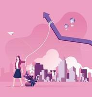 La empresaria hace el concepto de motivación de crecimiento de ingresos vector
