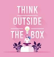 Businesswoman and think outside the box concept vector