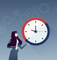 Businesswoman with a big clock. Business concept vector