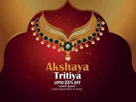 Akshaya tritiya celebration greeting card with golden necklace and gold coin vector