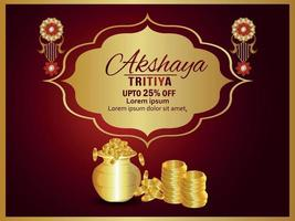 Akshaya tritiya gold coin pot with gold earrings vector