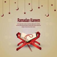 Islamic festival ramadan kareem celebration greeting card with quran vector