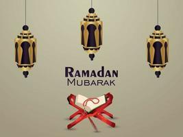 fondo del festival islámico ramadan mubarak con linterna creativa y sagrado corán vector