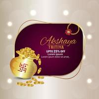 Akshaya tritiya indian jewelry sale discount background with gold coin pot vector