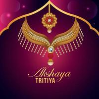 Tarjeta de felicitación de invitación akshaya tritiya con ilustración vectorial de joyas de oro vector