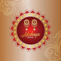 Akshaya tritiya event illustration greeting card with gold earrings vector
