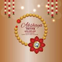 Indain festival akshaya tritiya jewelry sale promotion with creative background vector
