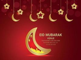 Eid mubarak vector illustration of golden moon and star