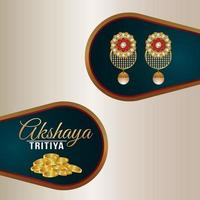 Akshaya tritiya indian jewelry sale greeting card with gold coin and earrings vector