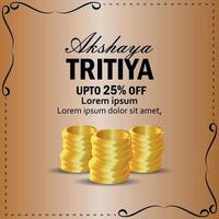 Realistic vector akshaya tritiya jewelry sale promotion with gold coin