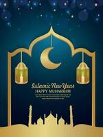 Islamic new year happy muharram invitation party flyer with realistic vector lantern