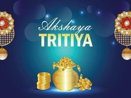 Akshaya tritiya celebration greeting card with gold coin pot and earrings vector